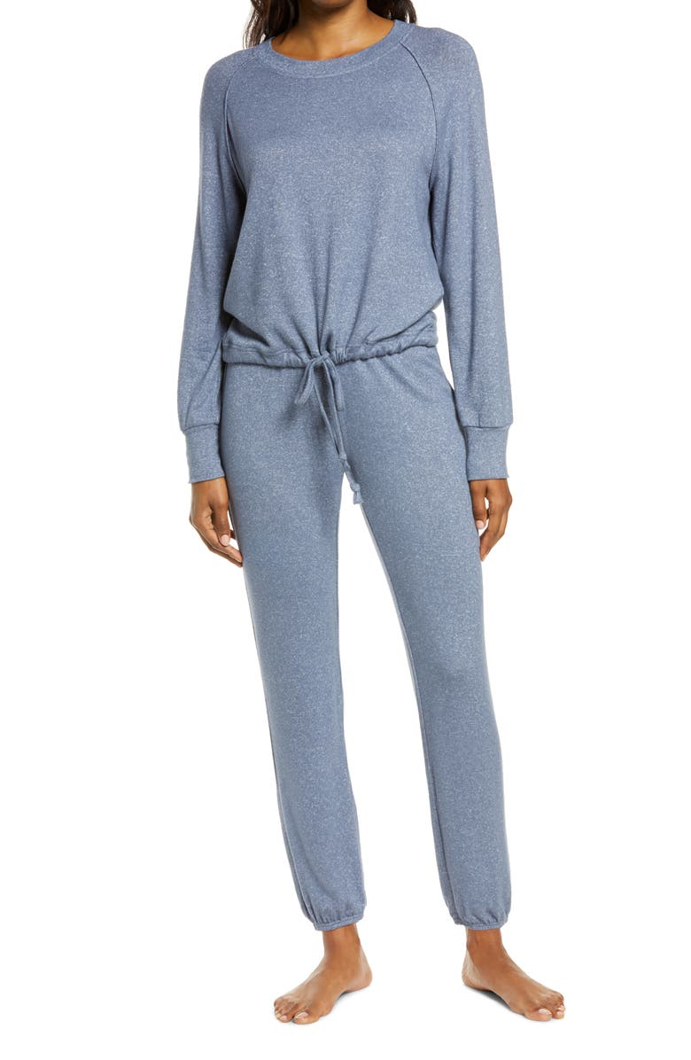 UGG<SUP>®</SUP> Gable Brushed Drawstring Pullover & Joggers Lounge Set, Main, color, NAVY HEATHER