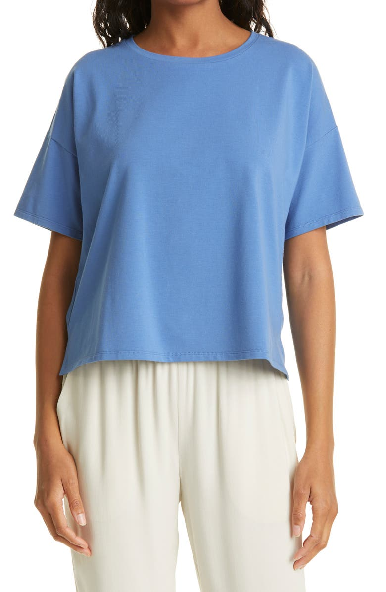EILEEN FISHER Stretch Organic Cotton Boxy Top, Main, color, COAST