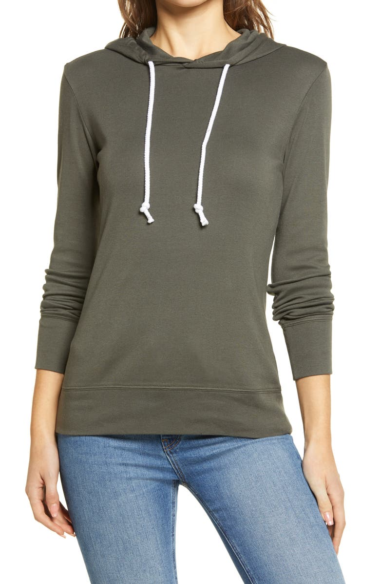 CASLON<SUP>®</SUP> Knit Hoodie, Main, color, GREY BELUGA
