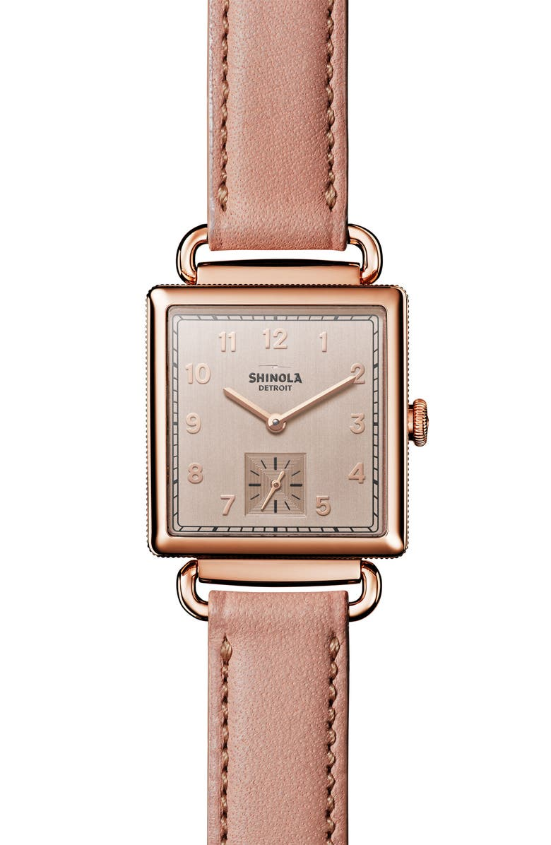 SHINOLA Cass Leather Strap Watch, 28mm, Main, color, 251