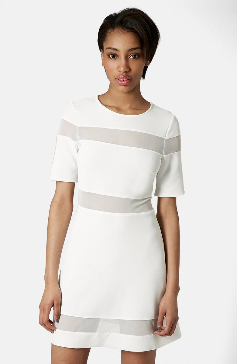 TOPSHOP Sheer Stripe Skater Dress, Main, color, 100
