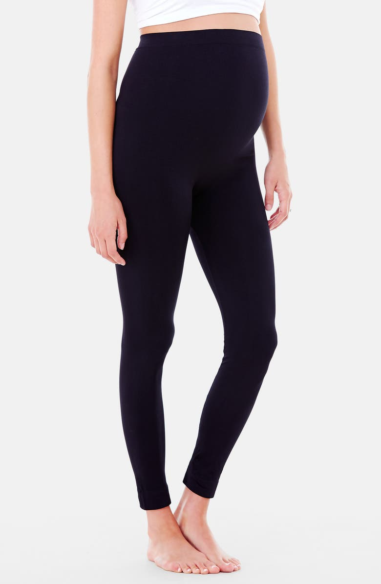 INGRID & ISABEL<SUP>®</SUP> Everyday Seamless Maternity Leggings, Main, color, BLACK