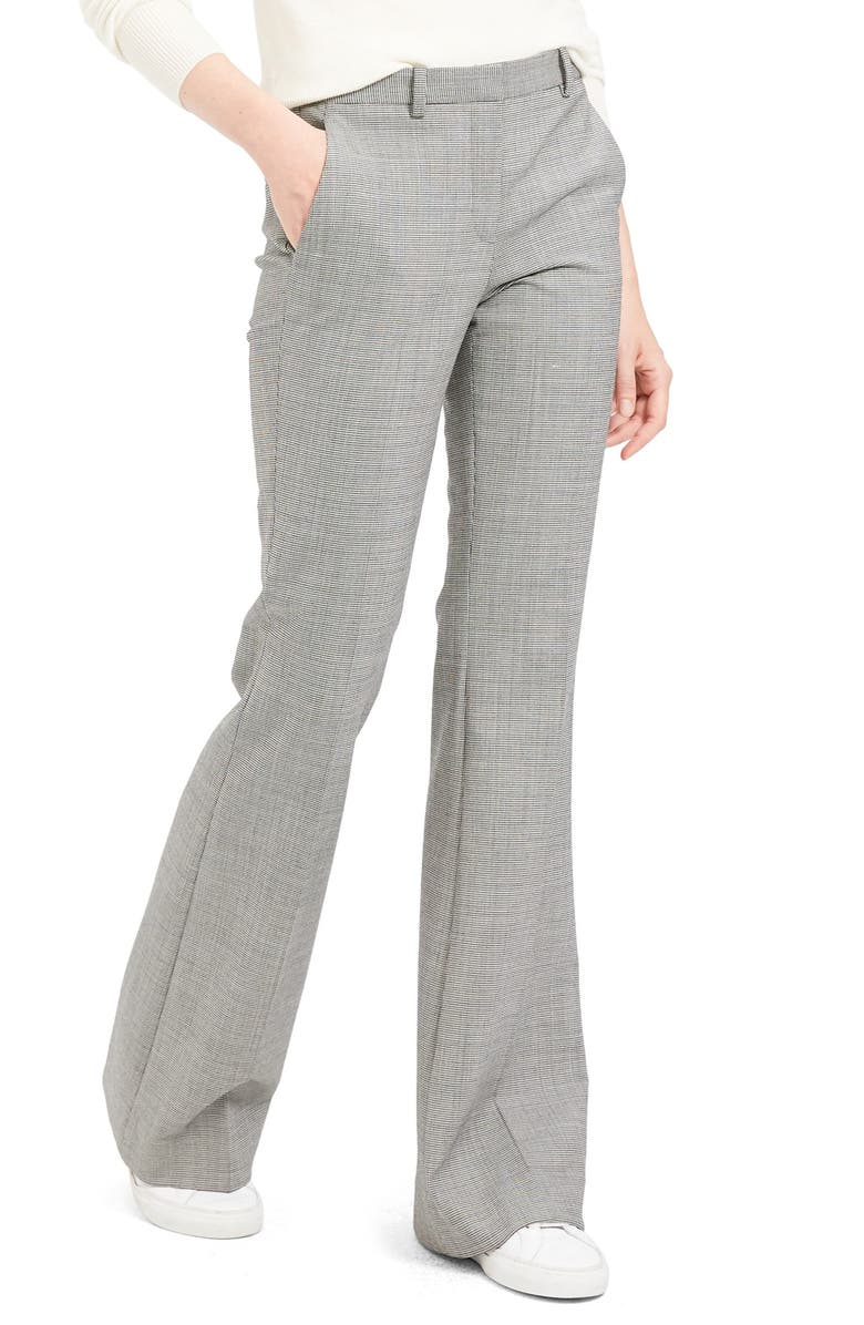 THEORY Demitria 4 Houndstooth Flare Leg Stretch Wool Pants, Main, color, 001