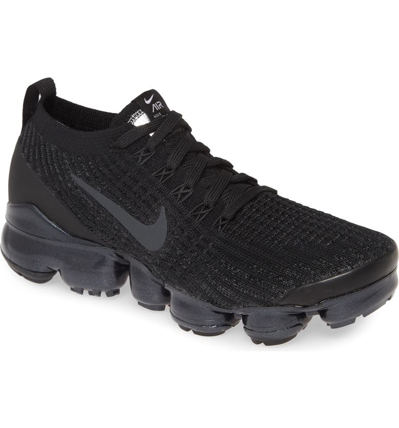 NIKE Air VaporMax Flyknit 3 Sneaker, Main, color, BLACK/ ANTHRACITE/ WHITE