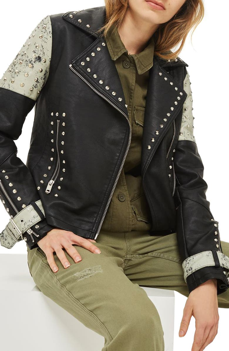 TOPSHOP Maddox Painted & Studded Faux Leather Jacket, Main, color, BLACK MULTI