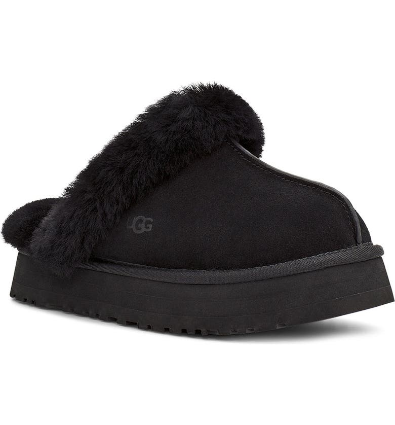UGG<SUP>®</SUP> Disquette Slipper, Main, color, BLACK SUEDE