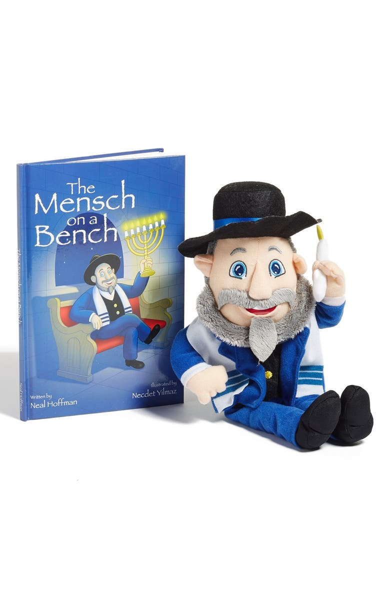 LICENSE 2 PLAY Mensch on a Bench Stuffed Doll & Book Set, Main, color, BLUE