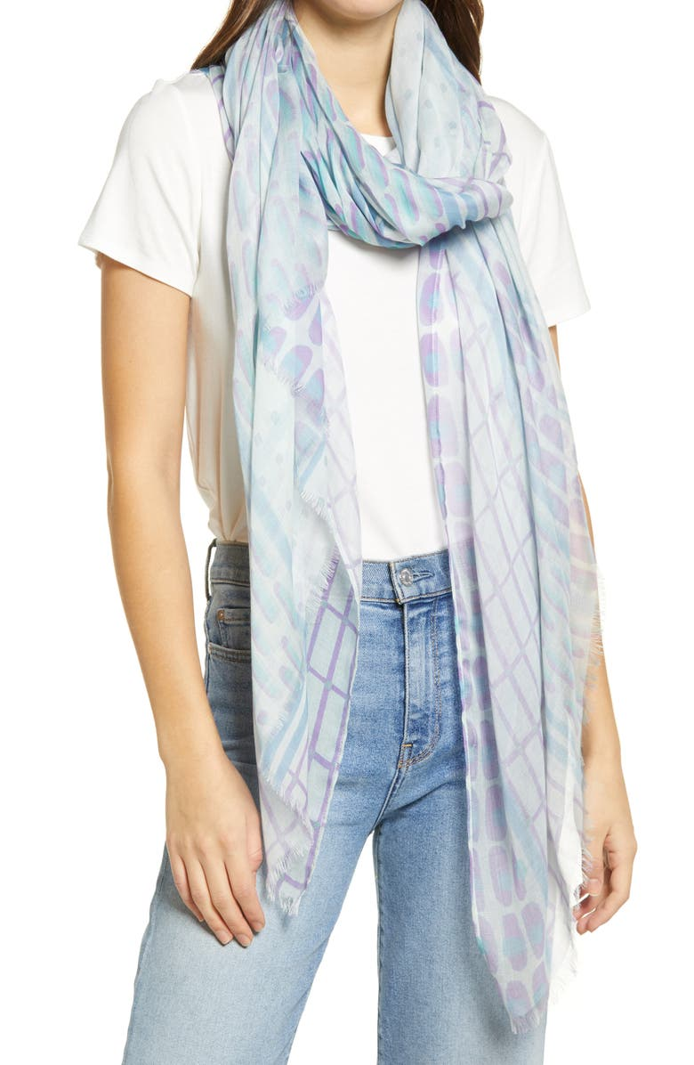 NORDSTROM Print Modal & Silk Scarf, Main, color, BLUE GEO BANDS