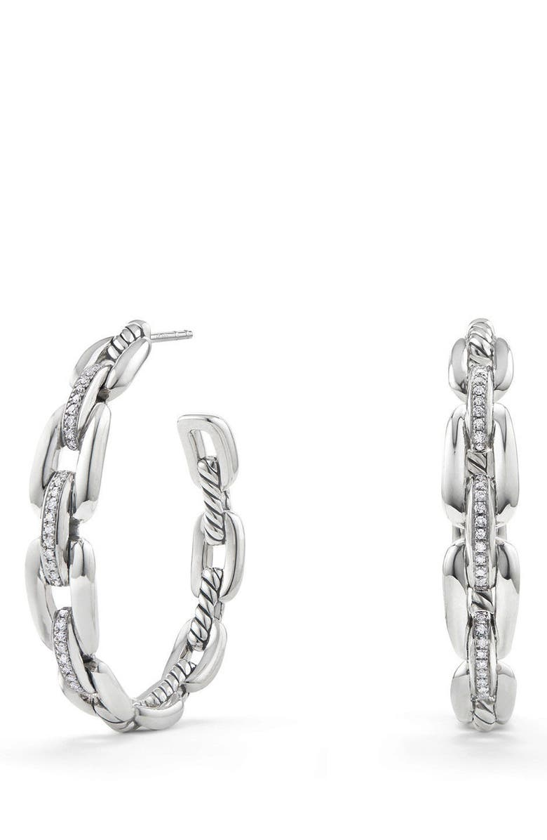 DAVID YURMAN Wellesley 23mm Hoop Earrings with Diamonds, Main, color, SILVER