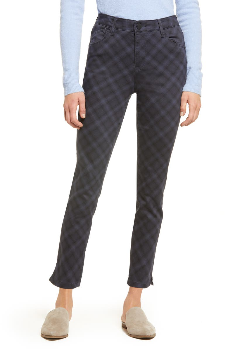 WIT & WISDOM Ab-Solution Plaid High Waist Ankle Skinny Pants, Main, color, NAVY