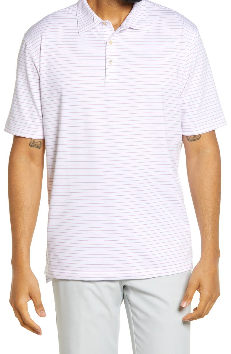 PETER MILLAR Crafty Stretch Stripe Short Sleeve Polo, Main, color, WHITE / GUAVA PINK