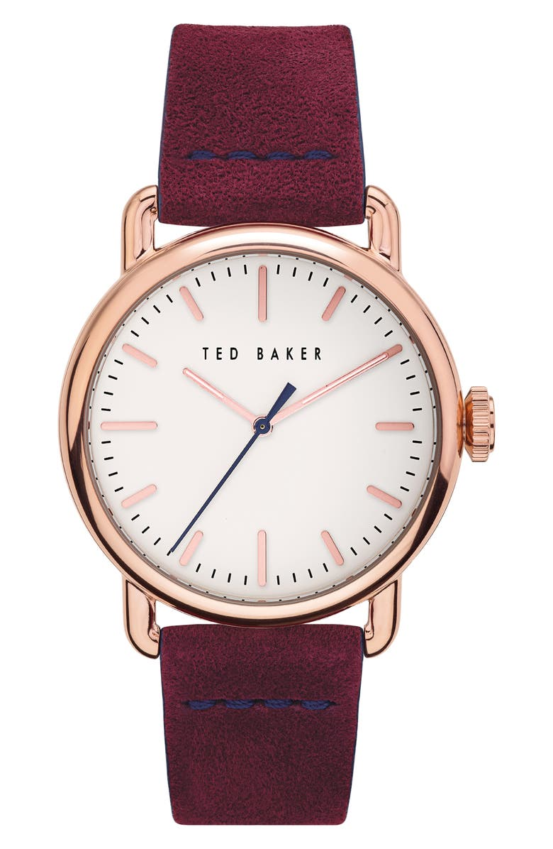 TED BAKER LONDON Tomcooa Leather Strap Watch, 40mm, Main, color, Z/DNUPURPLE/ WHITE/ ROSE GOLD