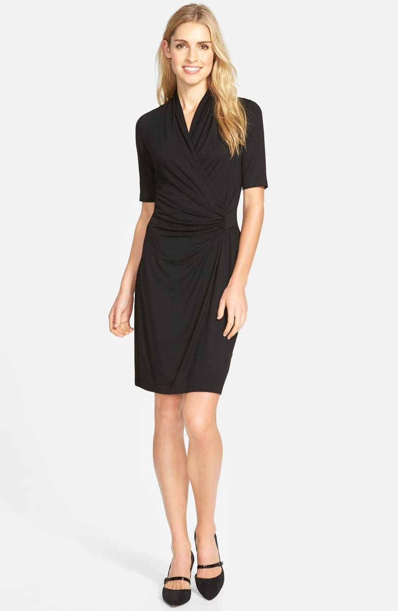 KAREN KANE Pencil Sleeve Faux Wrap Dress, Main, color, 001