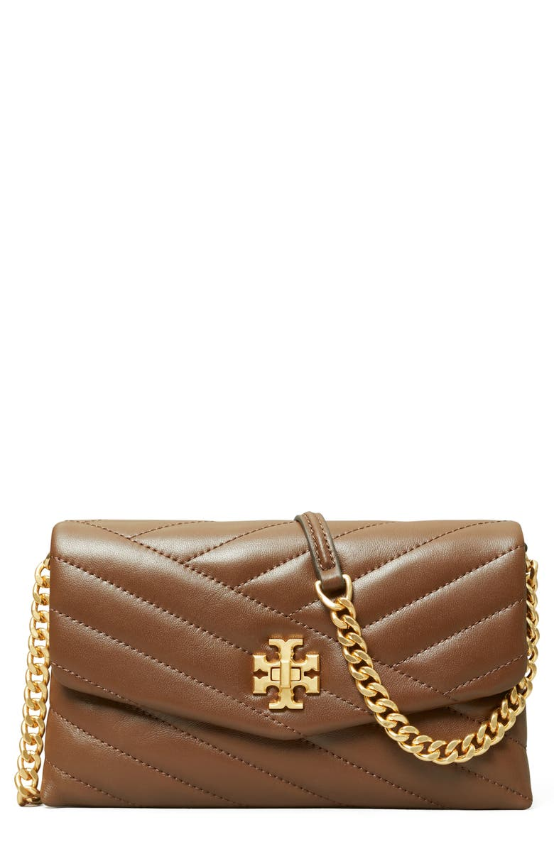 TORY BURCH Kira Chevron Quilted Leather Wallet on a Chain, Main, color, FUDGE / ROLLED BRASS