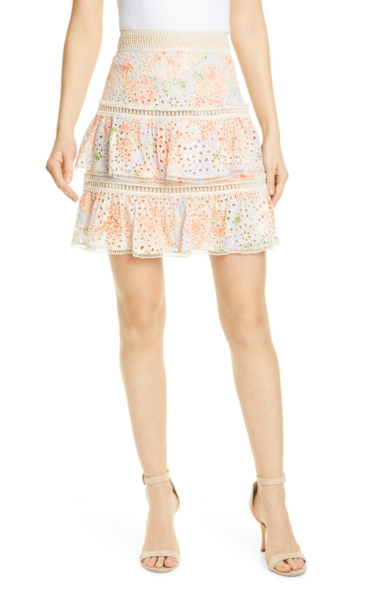 ALICE + OLIVIA Kirsten Embroidered Eyelet Skirt, Main, color, 900