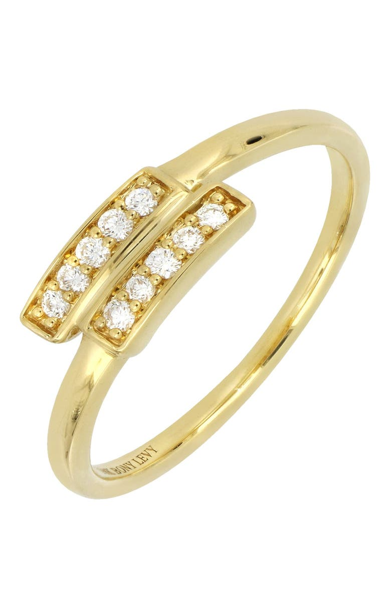 BONY LEVY 18K Yellow Gold Pave Diamond Bypass Stacking Ring - 0.10 ctw, Main, color, 18K YELLOW GOLD