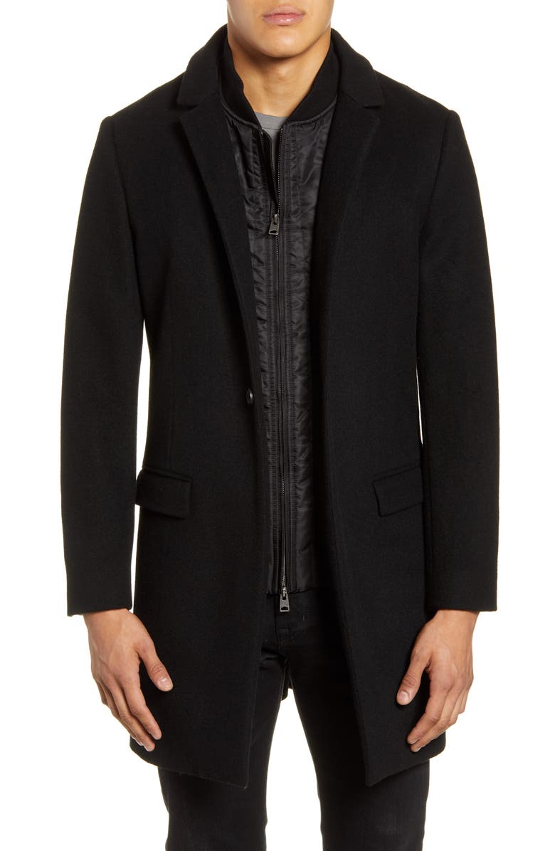 ALLSAINTS Lockwood Slim Fit Wool Coat with Removable Bib Inset, Main, color, 001