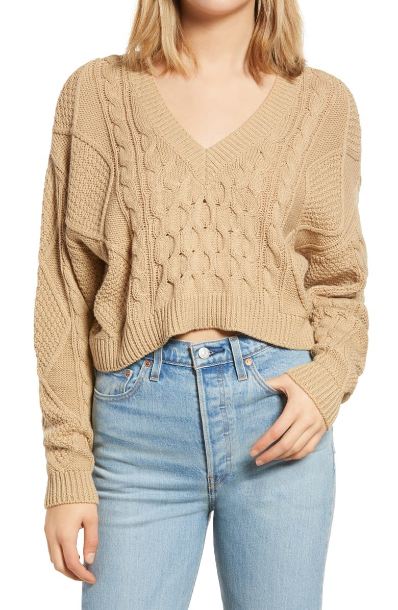 BP. V-Neck Cable Knit Sweater, Main, color, TAN DALE