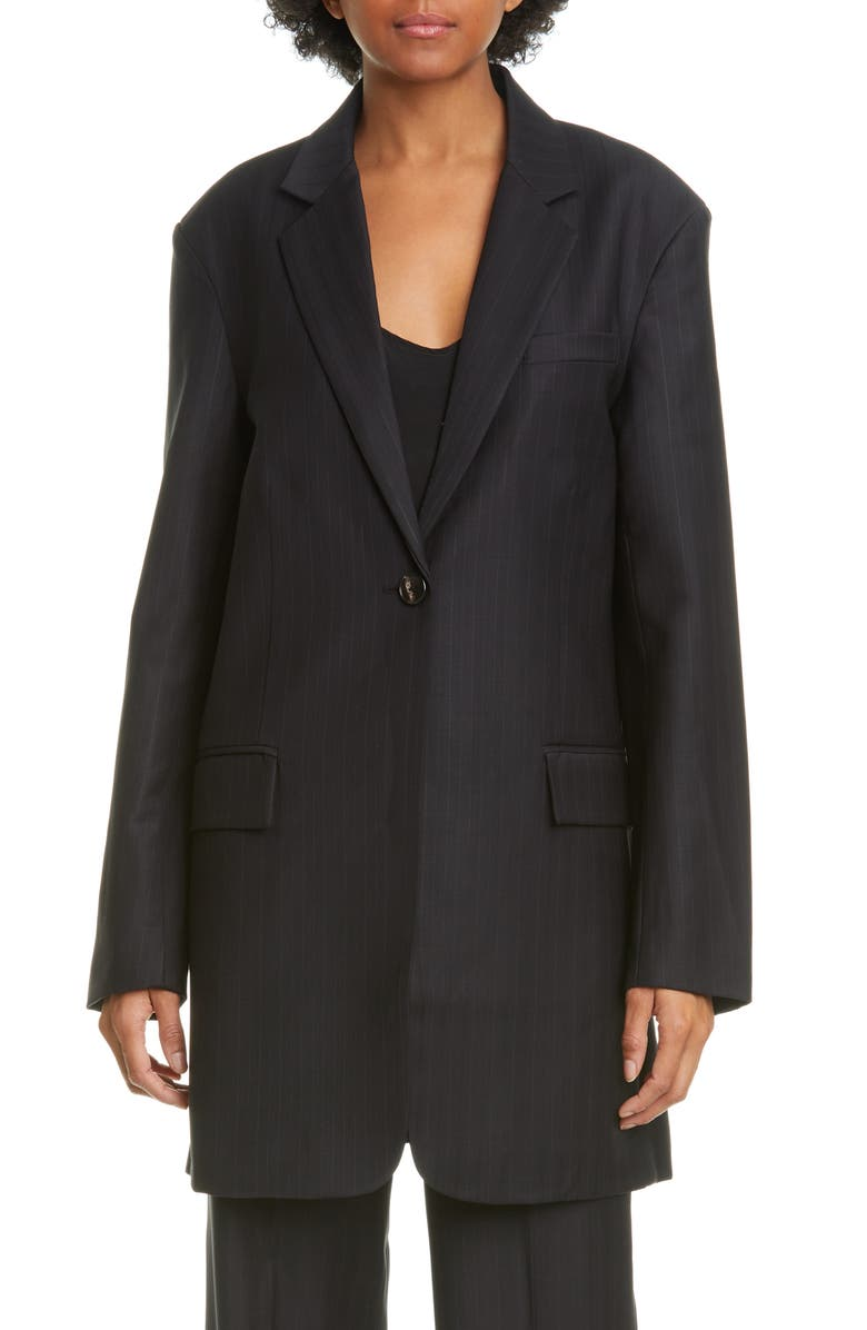 CO Pinstripe Oversize Wool Blend Blazer, Main, color, 001