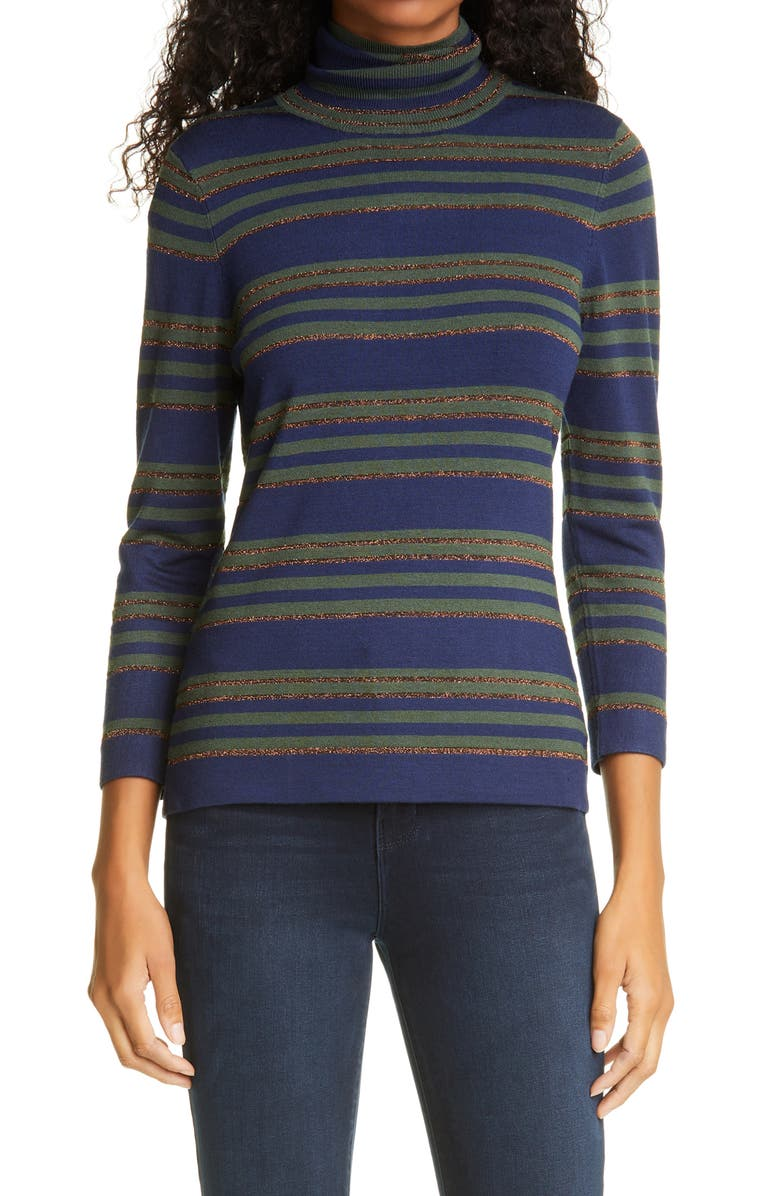L'AGENCE Harlee Turtleneck Top, Main, color, NAVY OLIVE BRONZE STRIPE