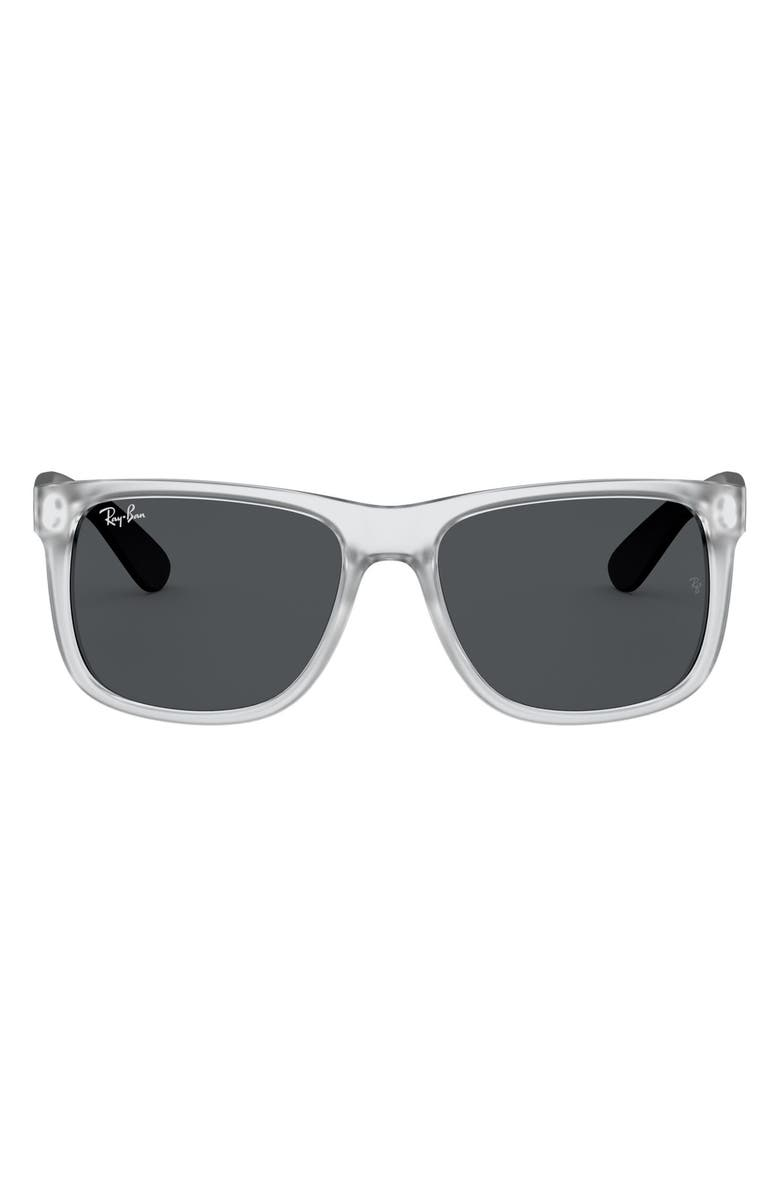 RAY-BAN Youngster 54mm Sunglasses, Main, color, CLEAR/ DARK GREY