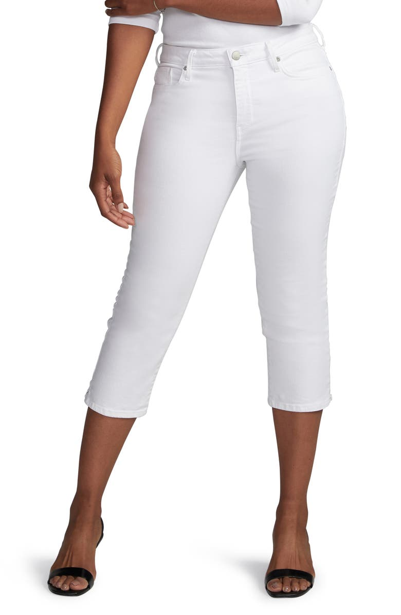 CURVES 360 BY NYDJ High Waist Side Slit Slim Straight Crop Jeans, Main, color, OPTIC WHITE