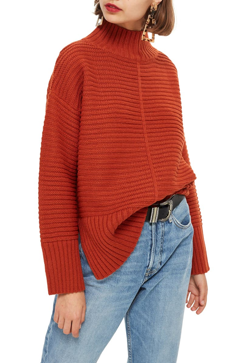 TOPSHOP Mock Neck Sweater, Main, color, 200