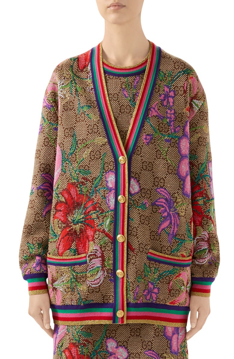 GUCCI Metallic Floral Double G Wool Blend Cardigan, Main, color, BROWN/ BEIGE/ MC