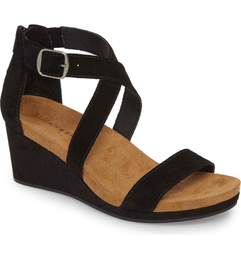 LUCKY BRAND Kenadee Wedge Sandal, Main, color, 001