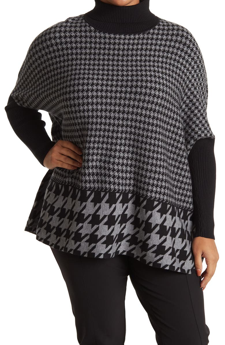 JOSEPH A Printed Oversized Boxy Turtleneck Sweater, Main, color, DOUBLE HOUNDSTOOTH