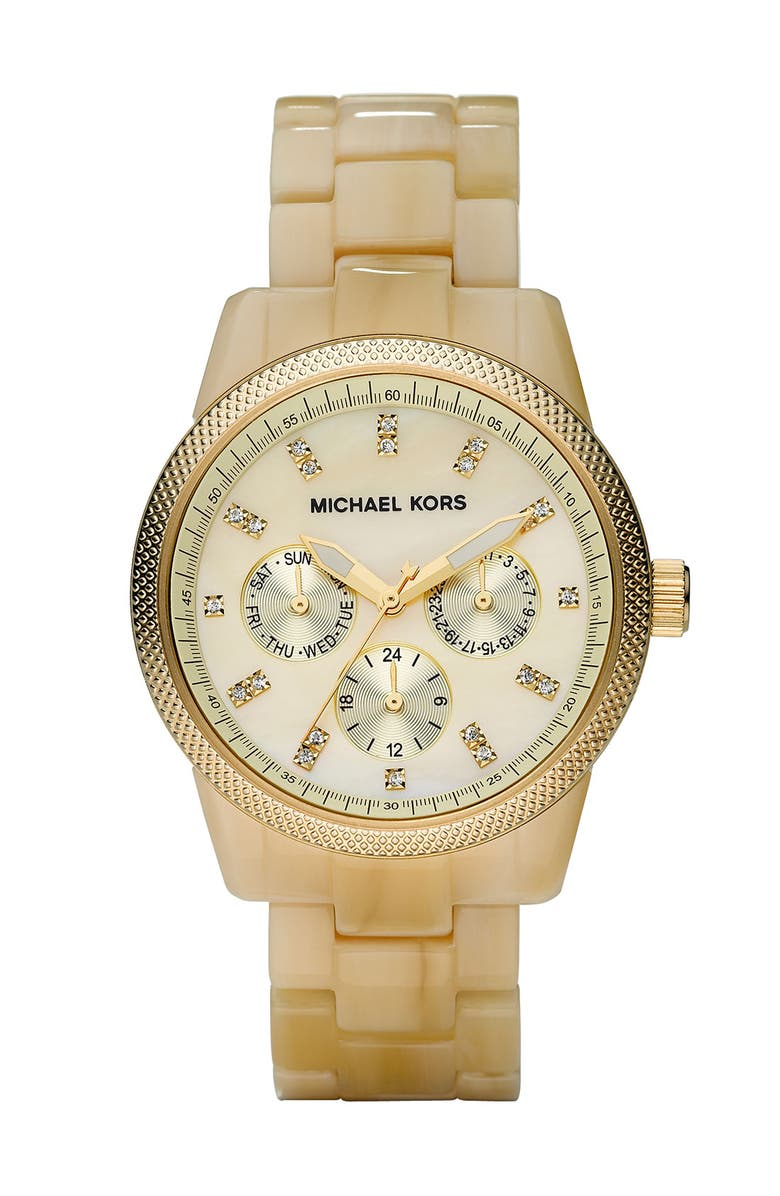 MICHAEL MICHAEL KORS Michael Kors 'Jet Set' Bracelet Watch, 38mm, Main, color, HRN