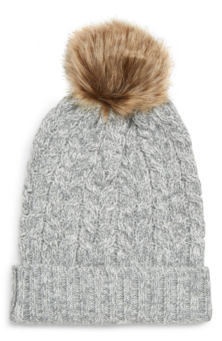 SOLE SOCIETY Cable Knit Beanie with Faux Fur Pom, Main, color, 020