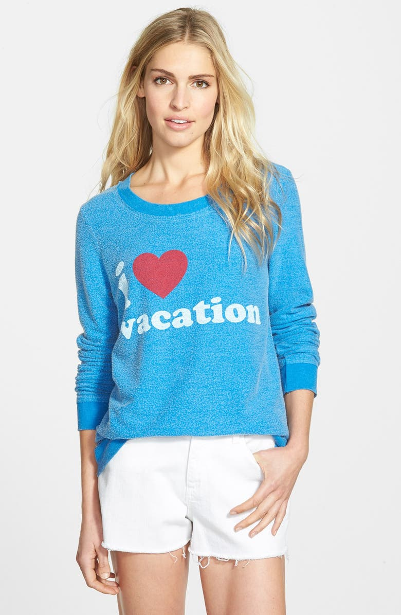 CHASER 'I Love Vacation' Pullover Sweatshirt, Main, color, POOL