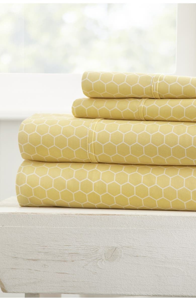 IENJOY HOME The Home Spun Ultra Soft Honeycomb Pattern 4-Piece King Bed Sheet Set - Yellow, Main, color, YELLOW