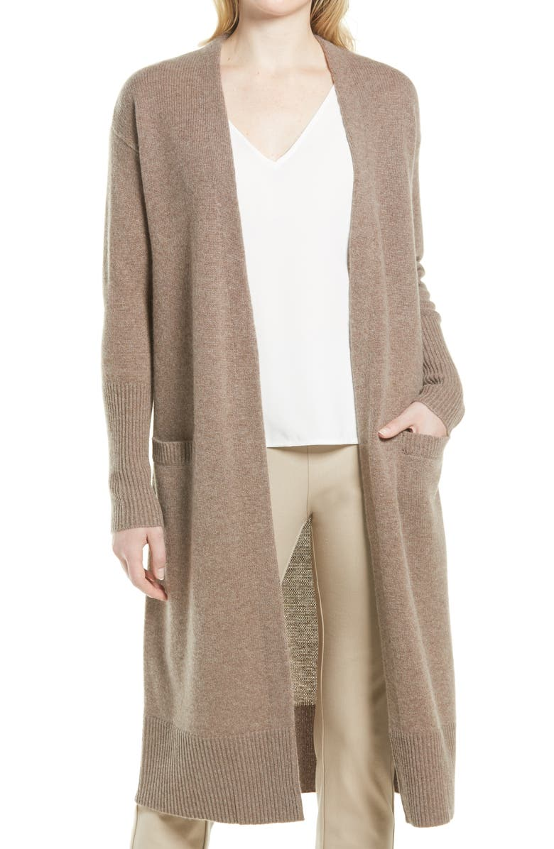 NORDSTROM Longline Wool & Cashmere Cardigan, Main, color, BROWN TAUPE