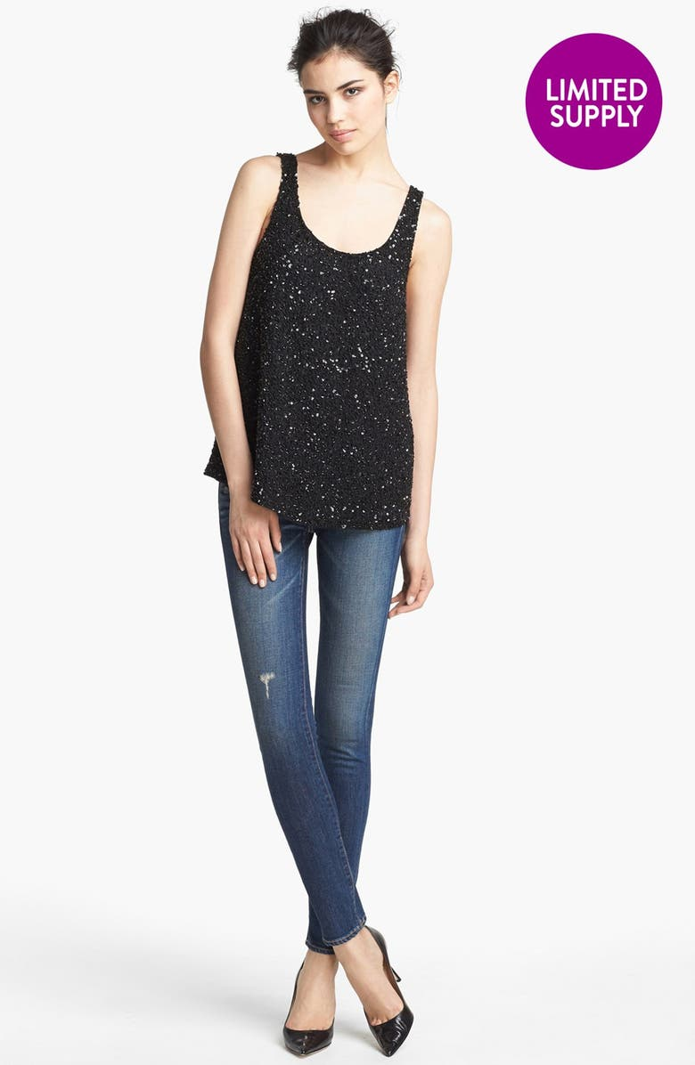 HAUTE HIPPIE 'Junk' Sequin Tank, Main, color, 001