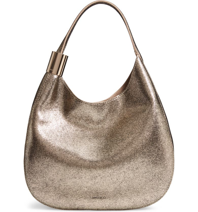 JIMMY CHOO Steve Metallic Leather Hobo, Main, color, 250