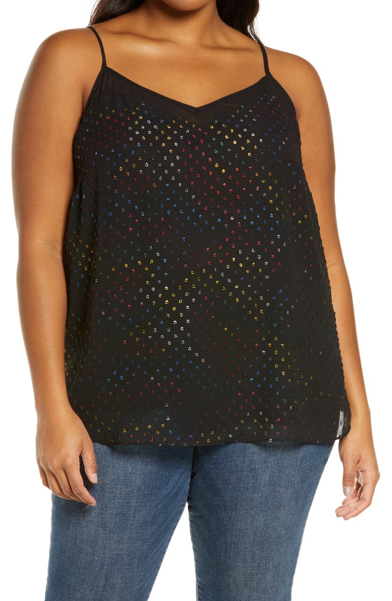 1.STATE Ruffle Front Clip Dot Camisole, Main, color, RICH BLACK