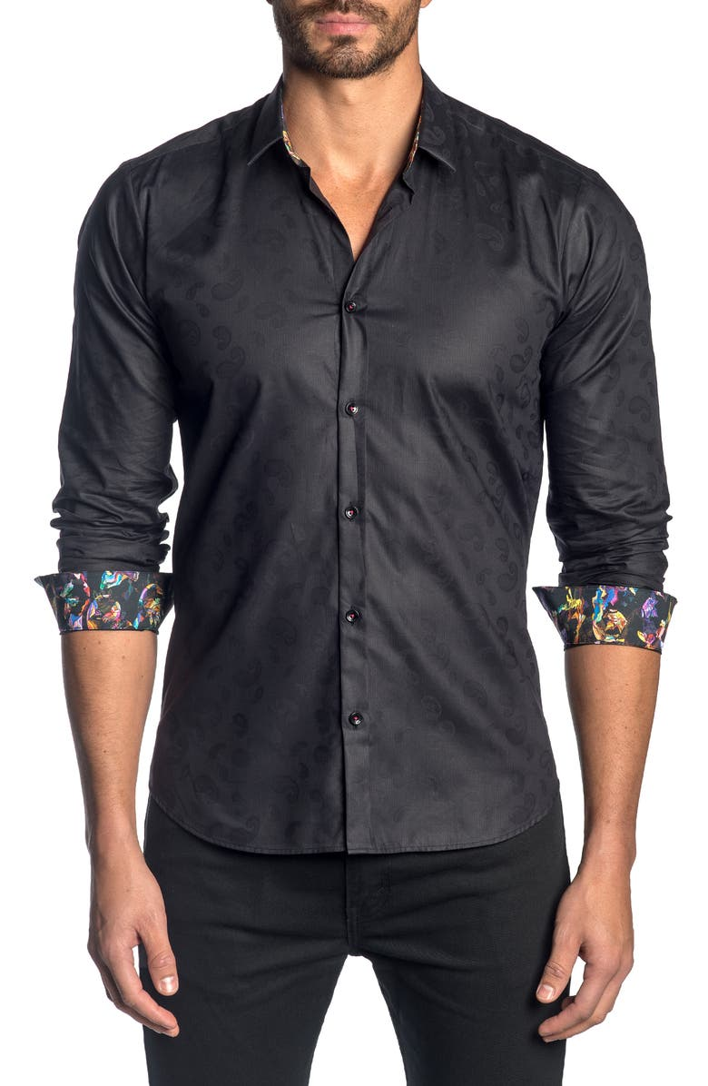 JARED LANG Slim Fit Paisley Button-Up Sport Shirt, Main, color, 001
