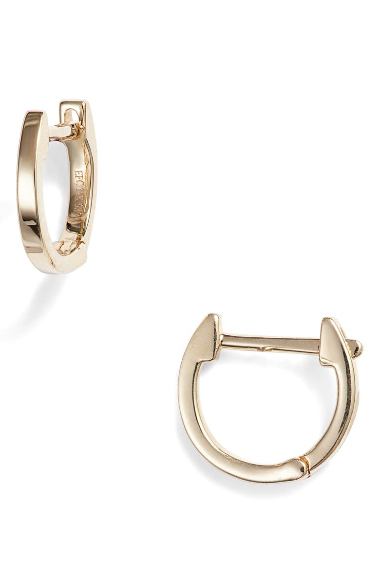 EF COLLECTION Mini Huggie Hoop Earrings, Main, color, YELLOW GOLD