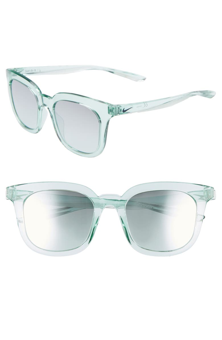 NIKE Myriad 52mm Mirrored Square Sunglasses, Main, color, IGLOO/ GRADIENT TEAL