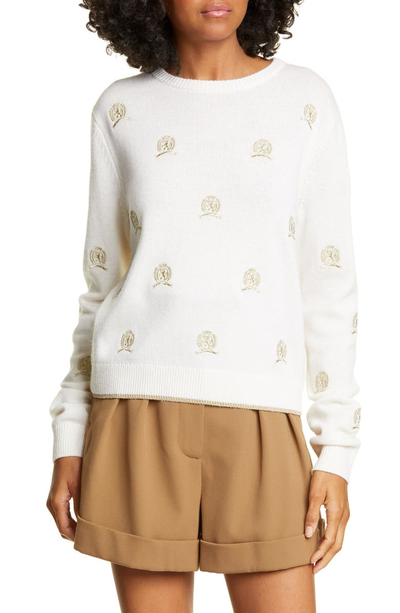 HILFIGER COLLECTION Crest Critter Embroidered Wool & Cashmere Sweater, Main, color, 900