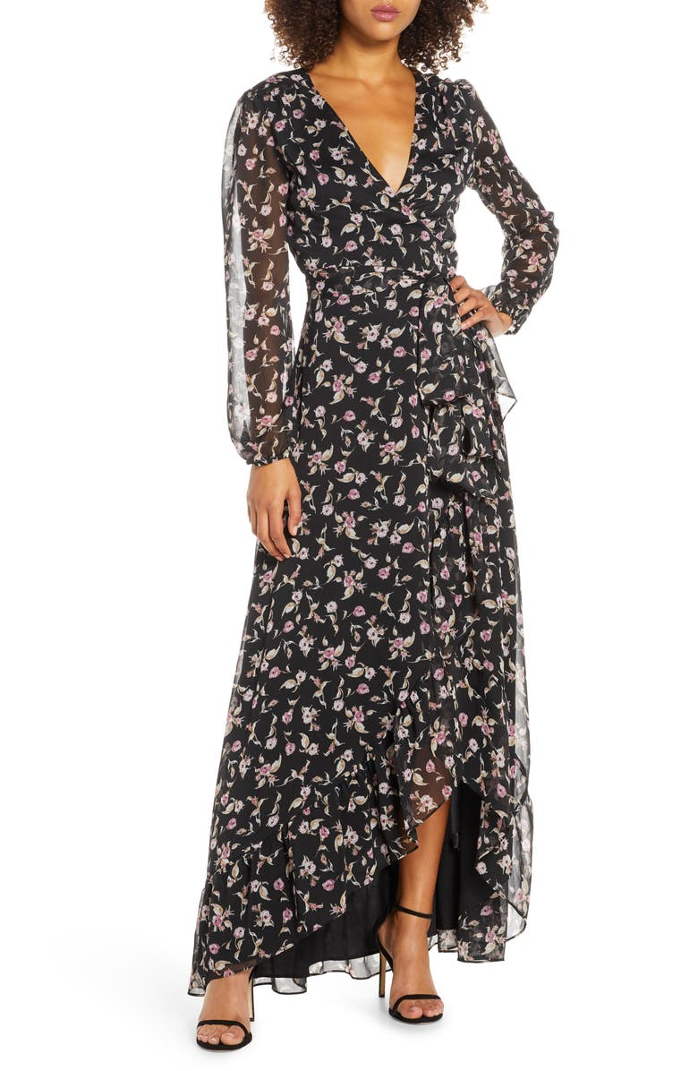 WAYF The Meryl Floral Long Sleeve Wrap Gown, Main, color, BLACK ALLOVER BLOSSOMS