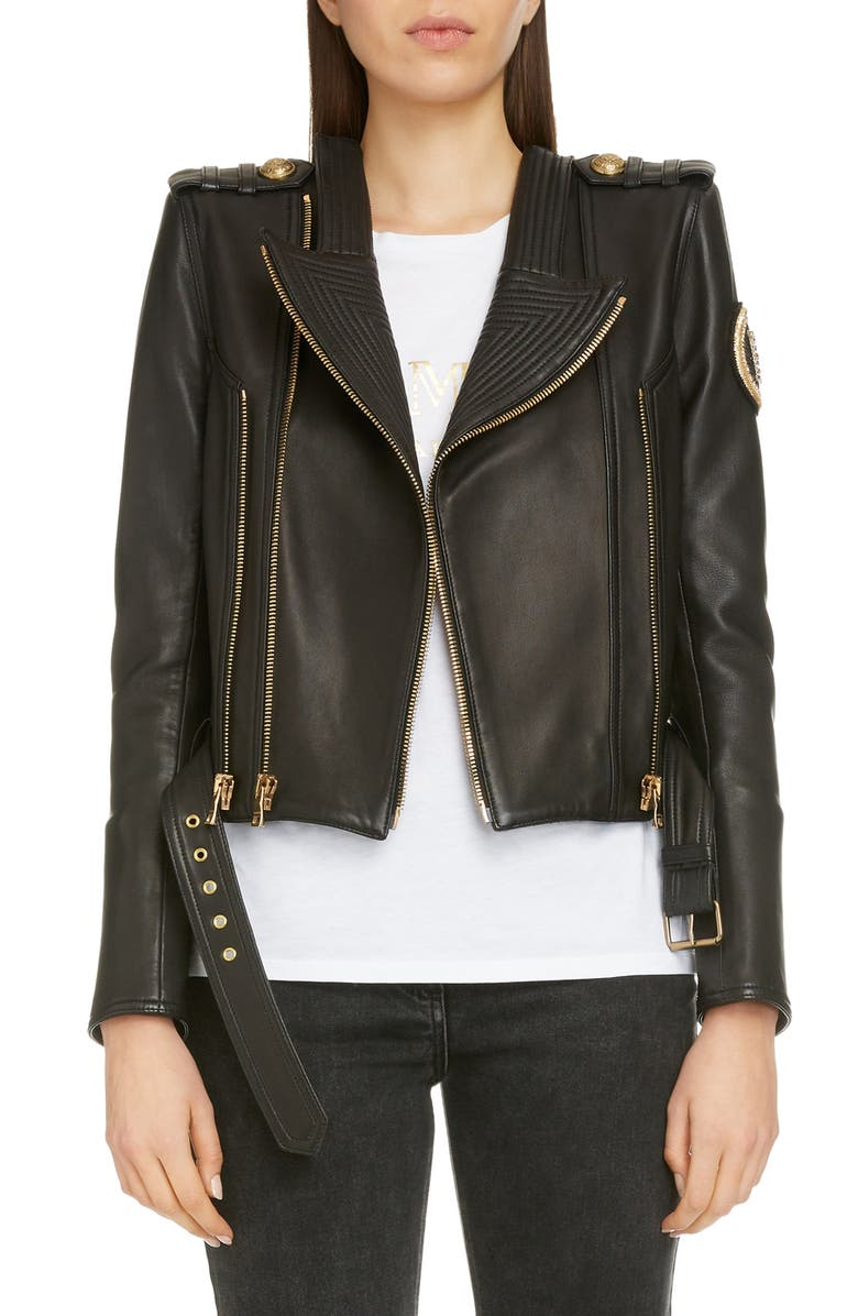 BALMAIN Epaulet Crop Leather Jacket, Main, color, NOIR