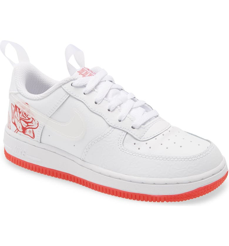 NIKE Air Force 1 LV8 3 Sneaker, Main, color, WHITE/ WHITE/ UNIVERSITY RED