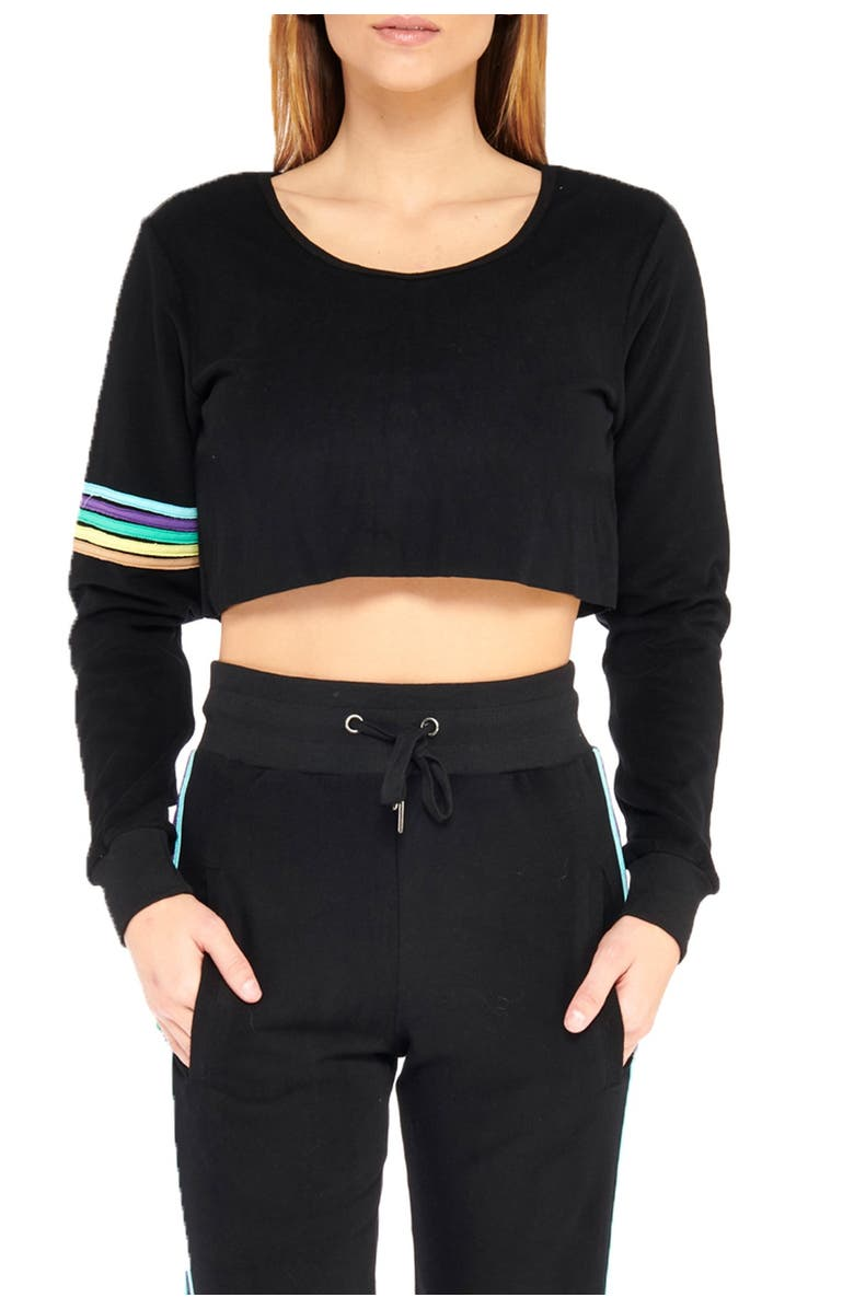 ELECTRIC YOGA Stripe Sleeve Cropped Sweater, Main, color, BLACK