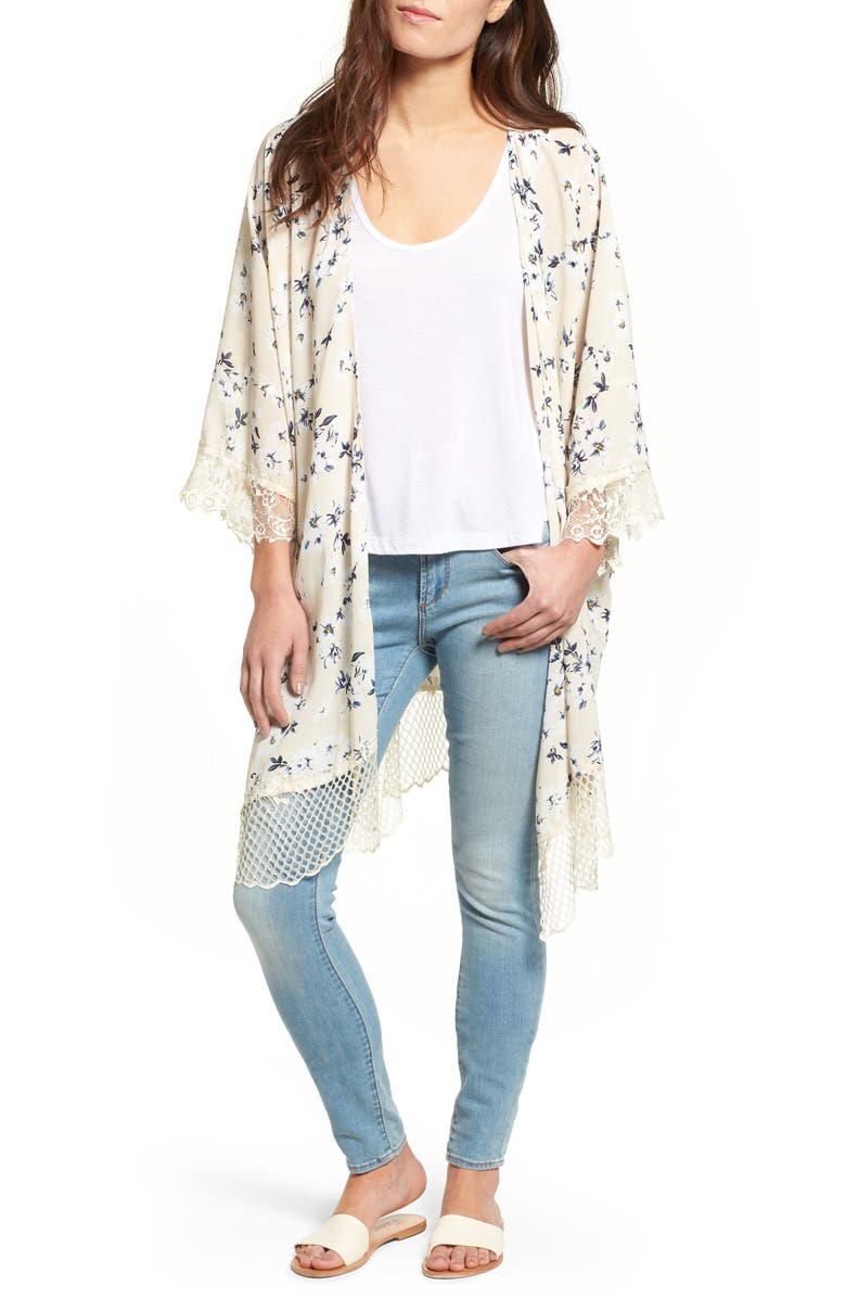 LUCCA COUTURE Lace Trim Kimono, Main, color, 252