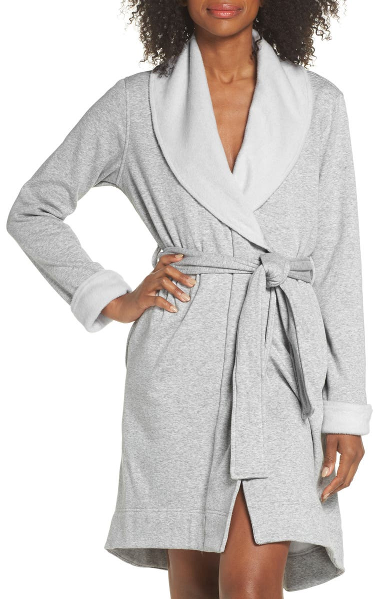 UGG<SUP>®</SUP> Blanche II Short Robe, Main, color, SEAL HEATHER