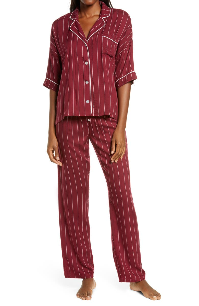 PJ SALVAGE Print Pajamas, Main, color, CRANBERRY