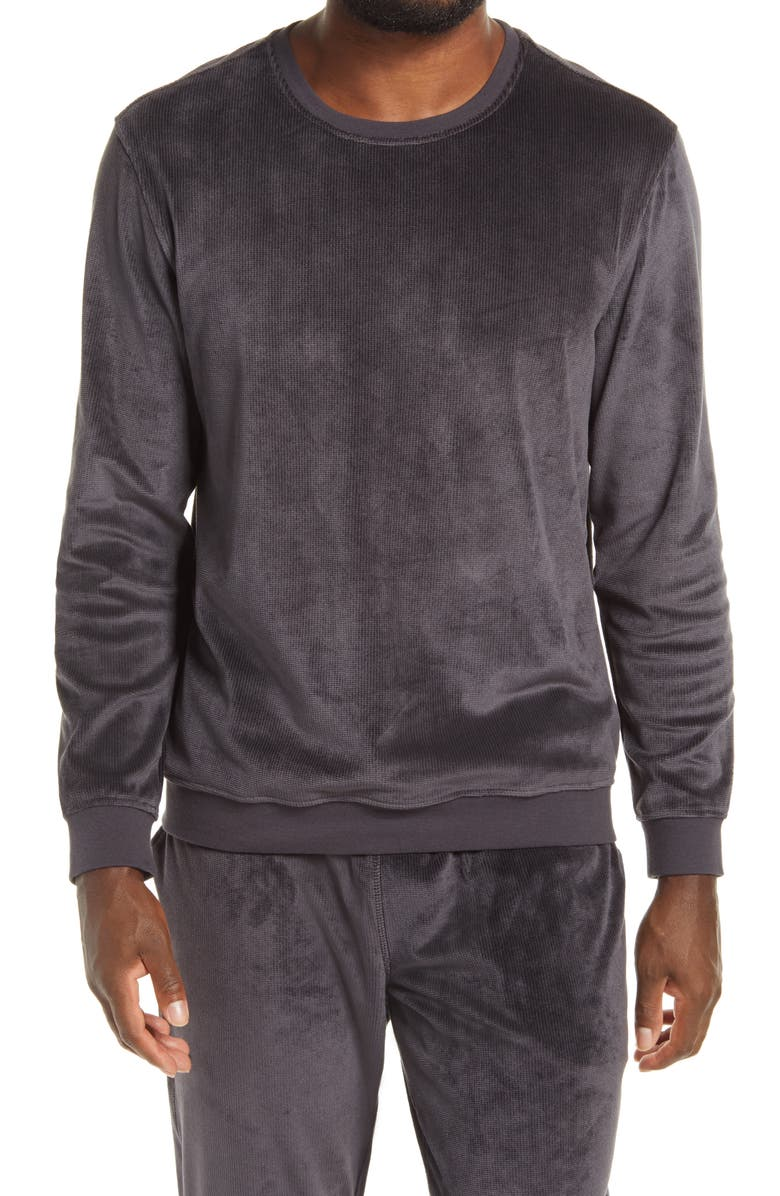 DANIEL BUCHLER Burnout Velour Long Sleeve Lounge Shirt, Main, color, GREY